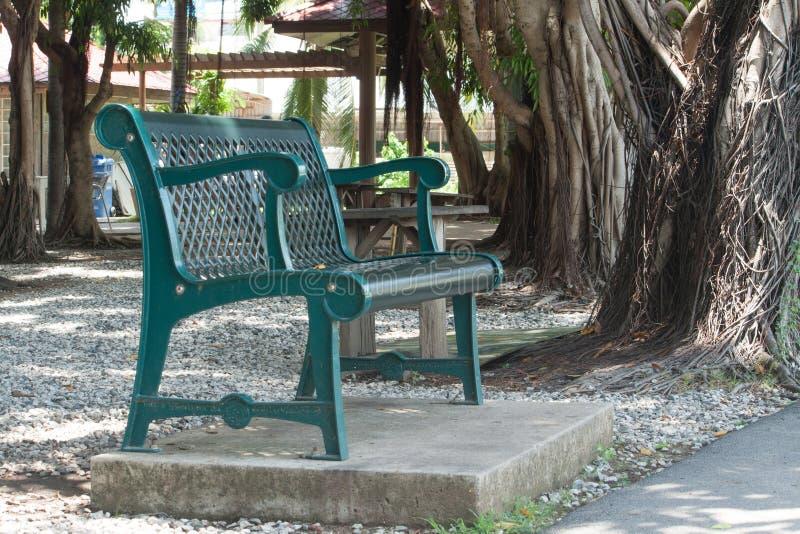 Зеленый парк стула публично стоковая фотография