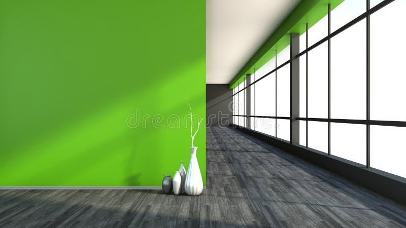Зеленый пустой интерьер с большим окном бесплатная иллюстрация
