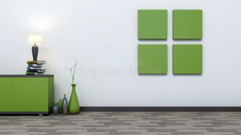 Зеленый пустой интерьер с вазами иллюстрация вектора