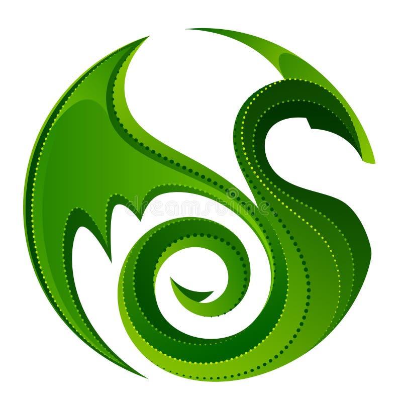 Зеленый дракон иллюстрация штока