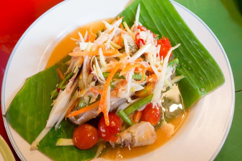 Зеленый салат папапайи с крабом, едой somtum тайской стоковое изображение rf