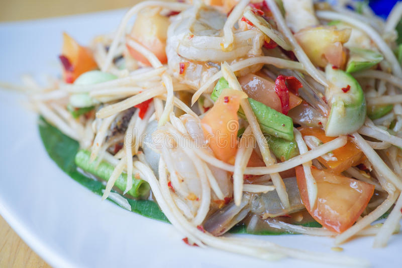 Зеленый салат папапайи стоковая фотография rf
