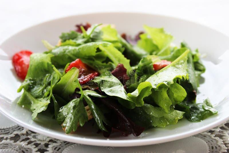 Зеленый салат с частями клубники и шлихта оранжевое juic стоковое фото rf
