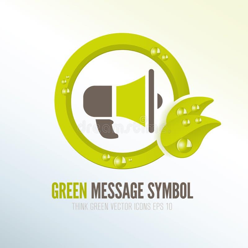 Зеленый символ для распространять экологические сообщения иллюстрация вектора