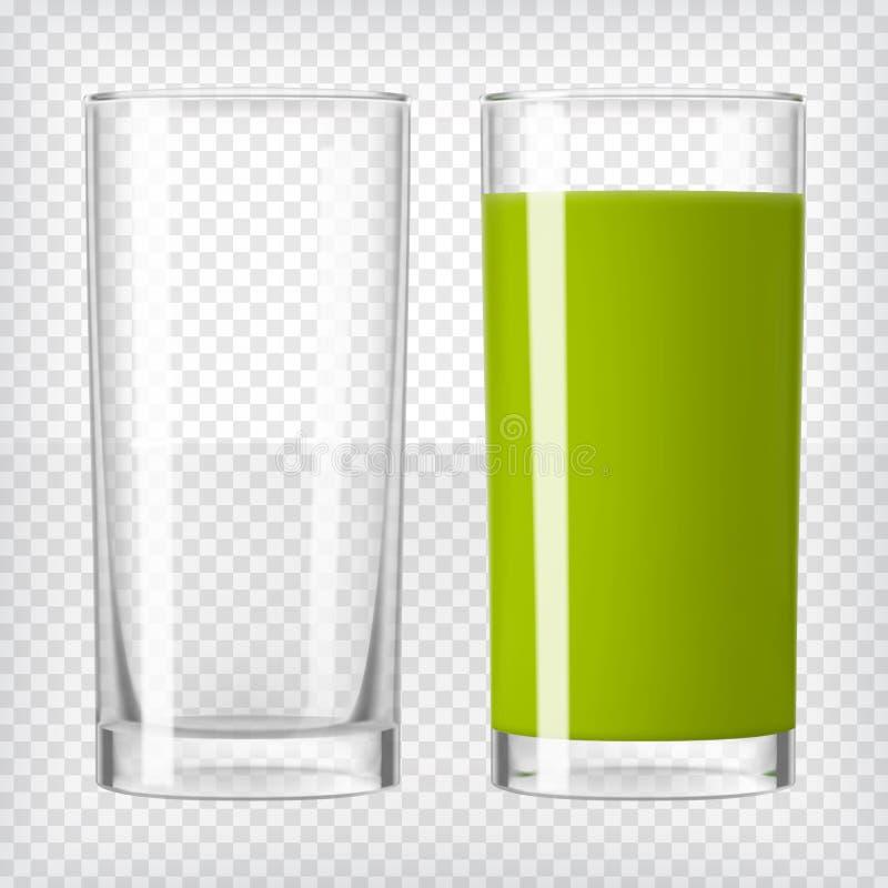Зеленый сок smoothie и пустое стекло иллюстрация штока
