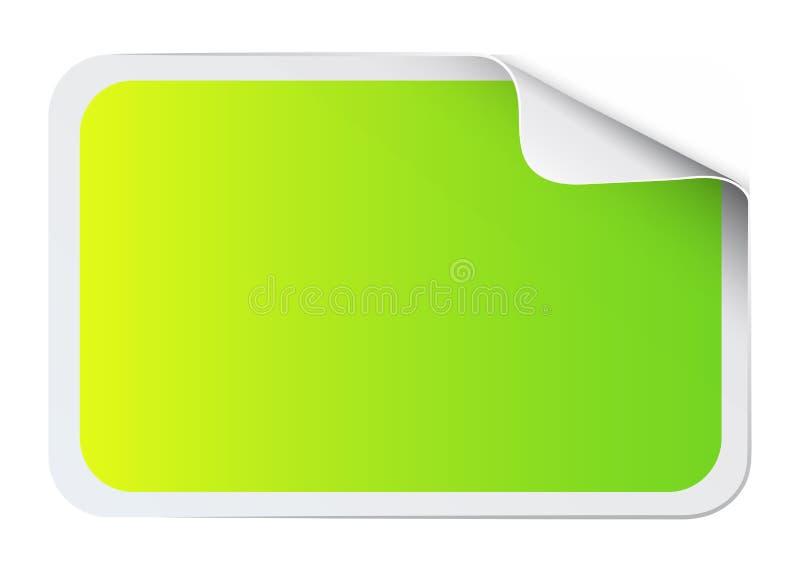 Зеленый стикер на белизне иллюстрация штока