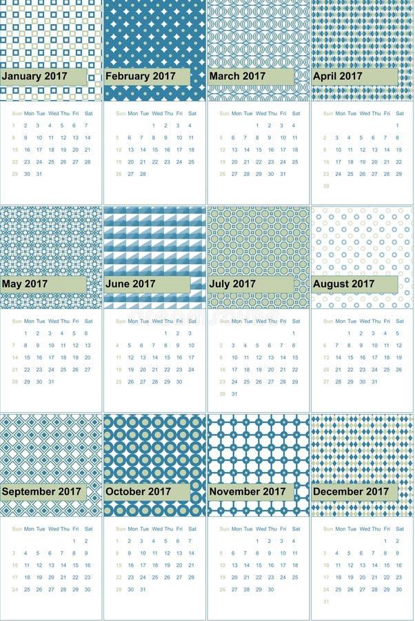 Зеленый туман и астральные покрашенные геометрические картины calendar 2016 иллюстрация вектора