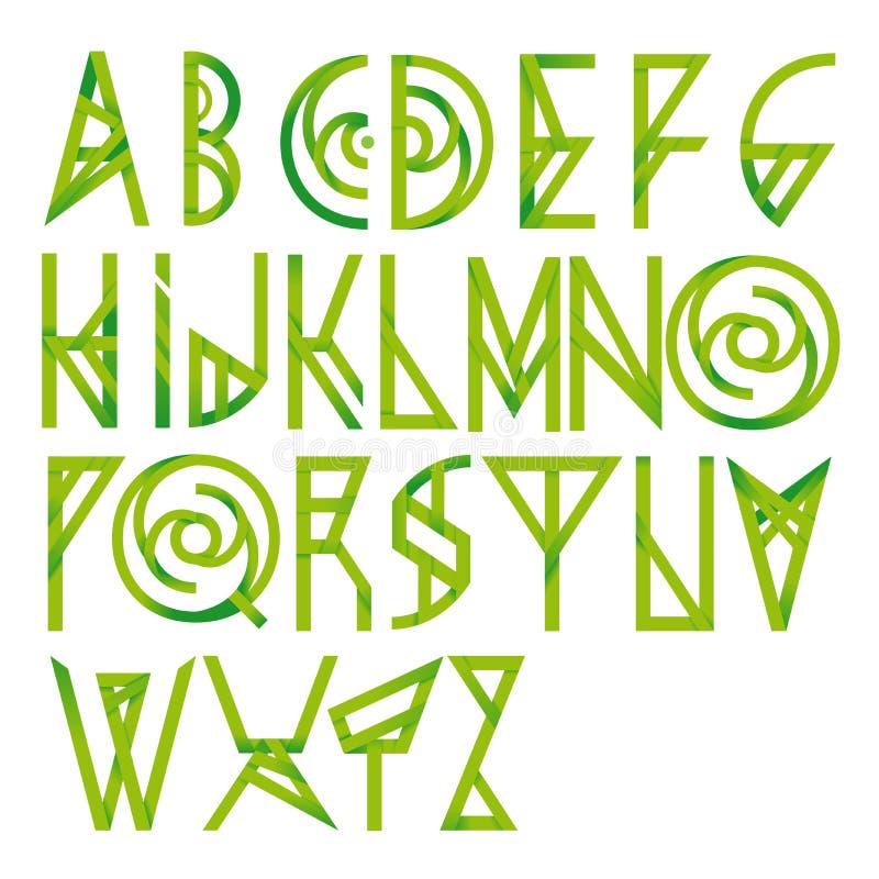 Зеленый флористический шрифт алфавита иллюстрация вектора