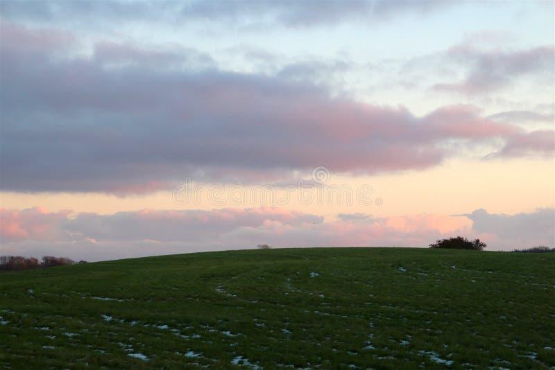 Зеленый холм с снегом стоковые фото