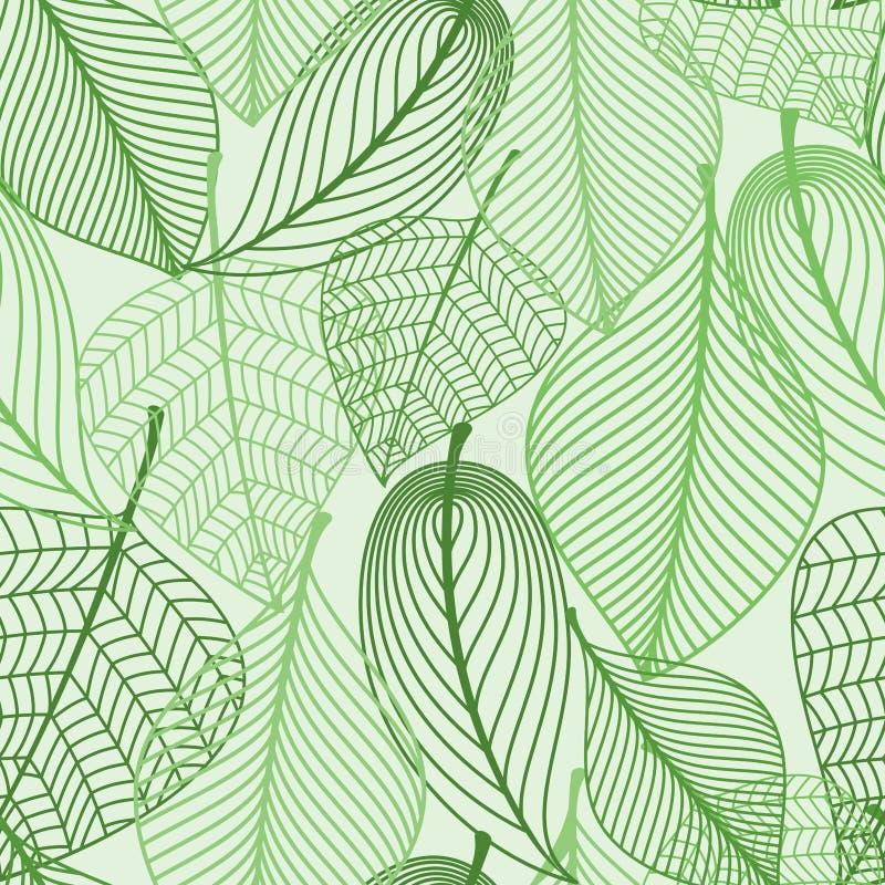 Зеленый цвет выходит безшовная предпосылка картины иллюстрация вектора