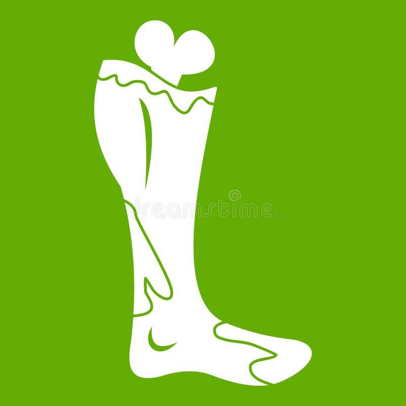 Зеленый цвет значка ноги зомби иллюстрация штока