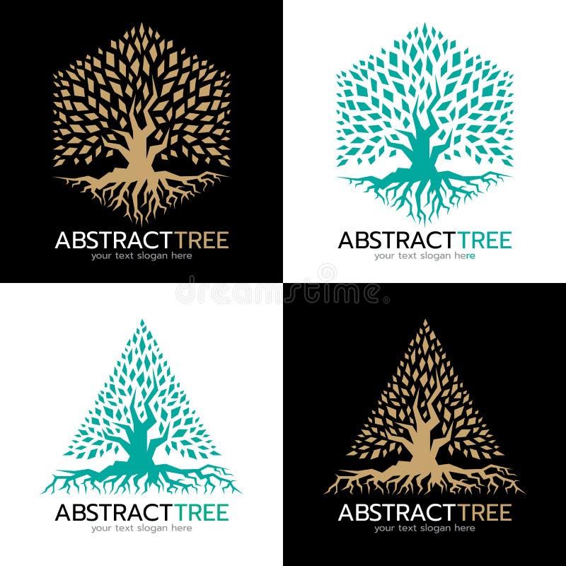 Зеленый цвет и золото дизайн искусства вектора логотипа шестиугольных и треугольника абстрактный дерева иллюстрация вектора