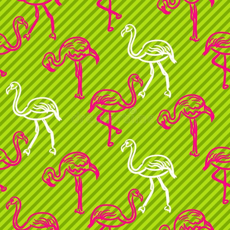 Зеленый цвет и striped пинком картина птицы фламинго иллюстрация штока