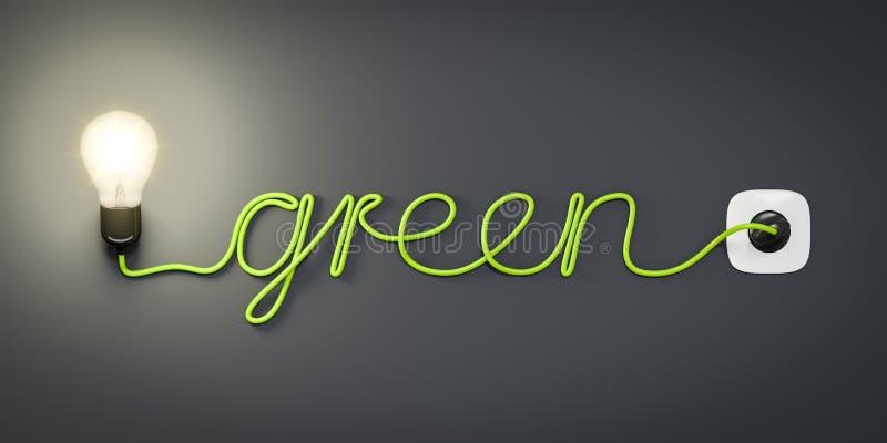 Зеленый цвет кабеля электрической лампочки бесплатная иллюстрация