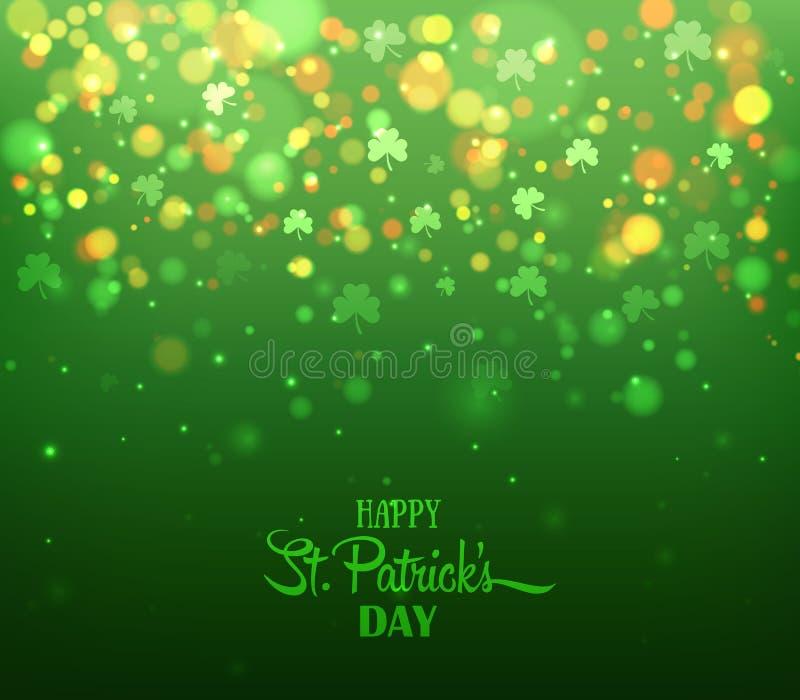 зеленый цвет клеверов предпосылки Ирландский день ` s St. Patrick праздника бесплатная иллюстрация