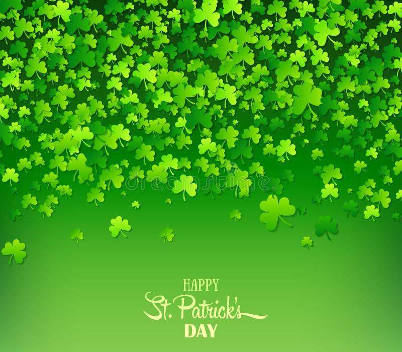 зеленый цвет клеверов предпосылки Ирландский день ` s St. Patrick праздника иллюстрация вектора
