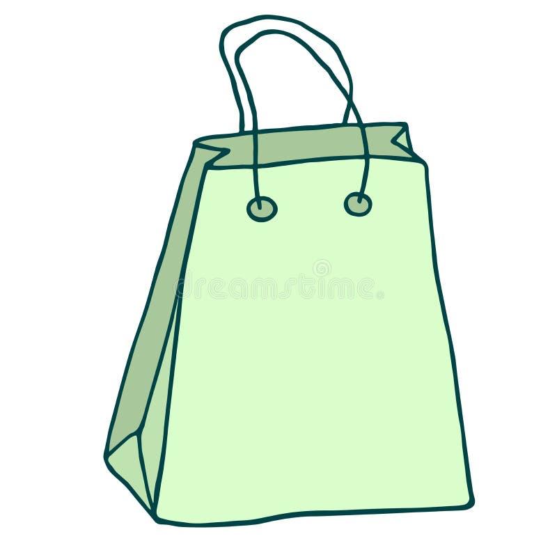 зеленый цвет мешка регулирует покупку предпосылка рисуя флористический вектор травы Хозяйственная сумка ic иллюстрация штока