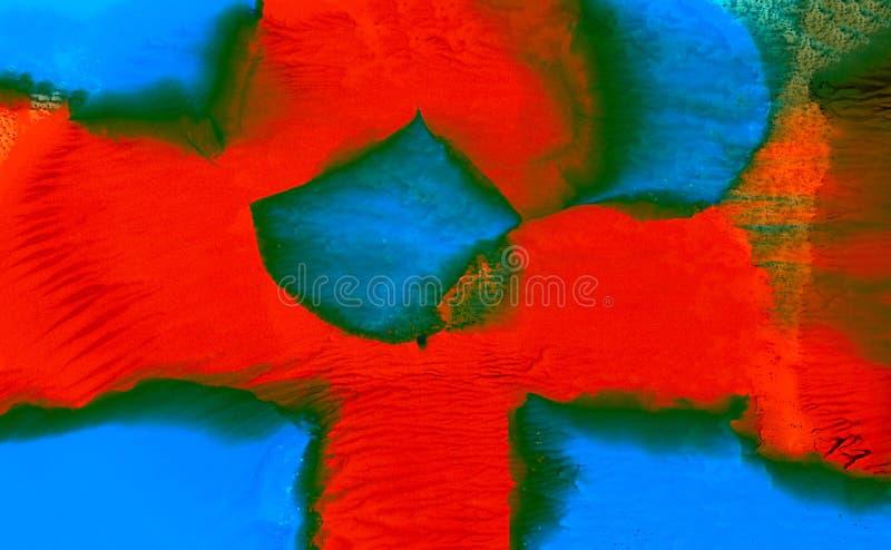 Зеленый цвет покрашенный конспектом красный голубой с smudges иллюстрация вектора