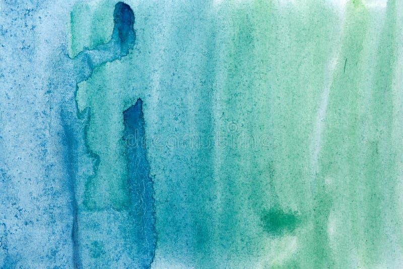 Зеленый цвет предпосылки акварели голубой иллюстрация вектора