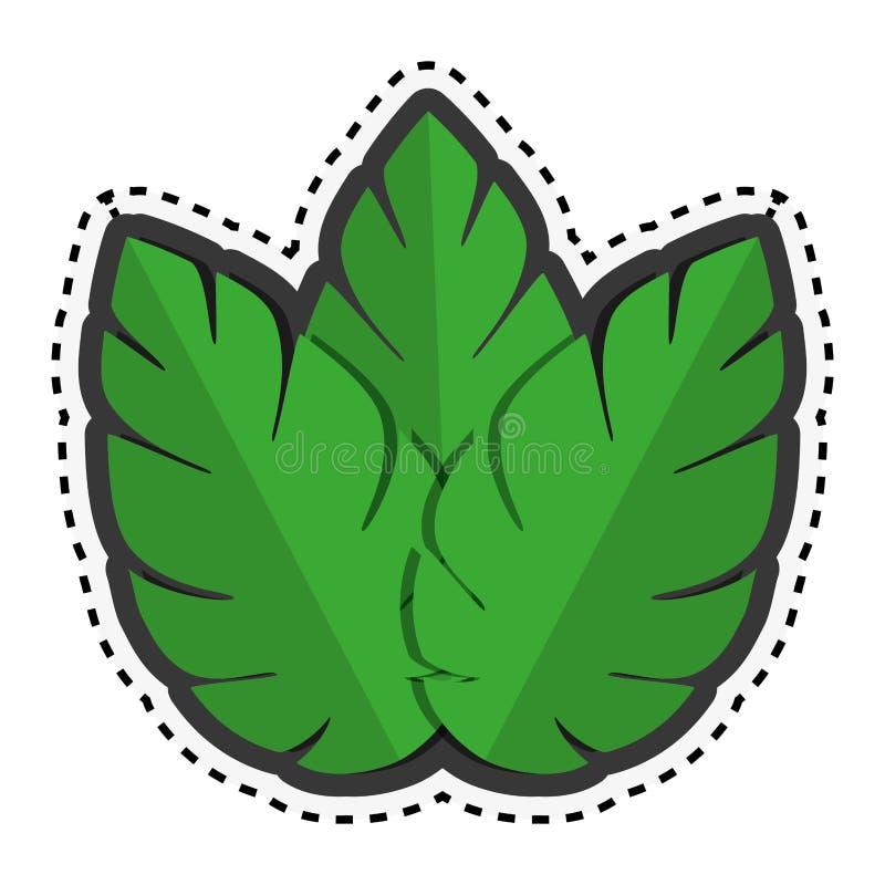Зеленый цвет стикера выходит значок завода природы бесплатная иллюстрация