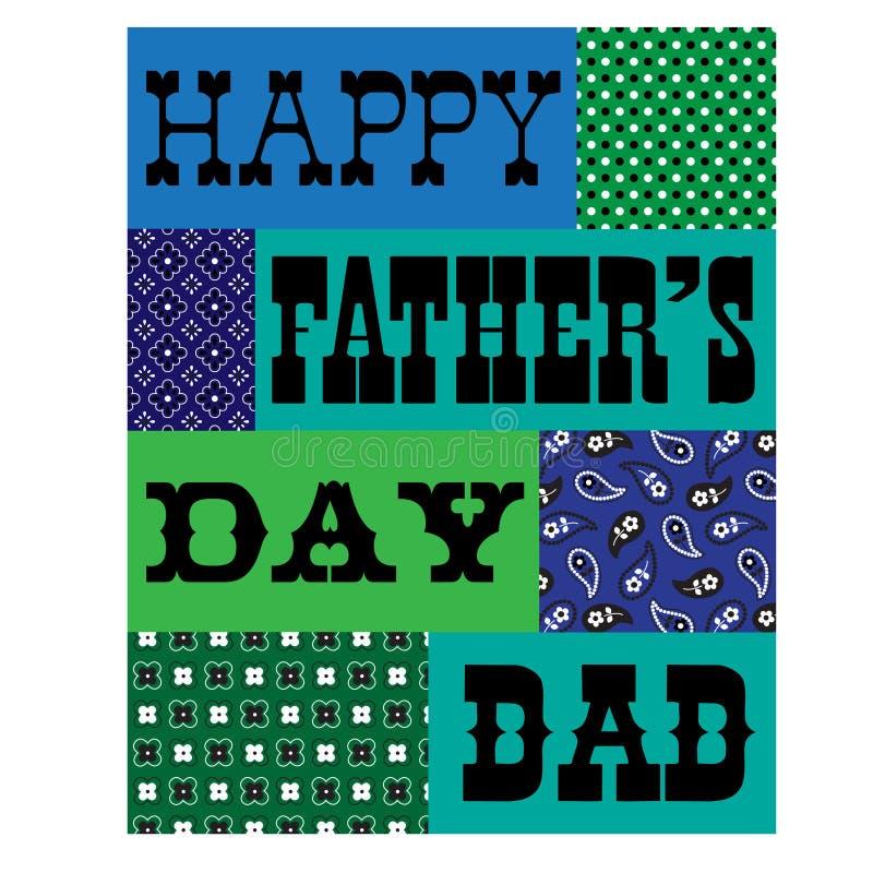 Зеленый цвет счастливой карточки bandana дня отцов голубой бесплатная иллюстрация