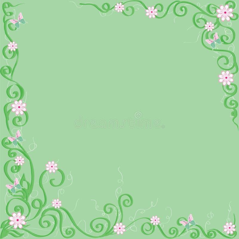зеленый цвет цветков бабочек предпосылки иллюстрация вектора