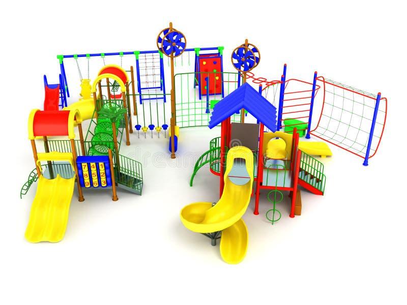 Зеленый цвет 3d концепции спортивной площадки ` s детей красный желтый голубой представляет дальше иллюстрация штока