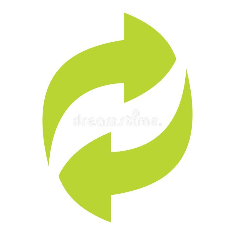 Зеленый цвет Ecologycal плоско рециркулирует знак eco изолированный на белом backgro иллюстрация штока