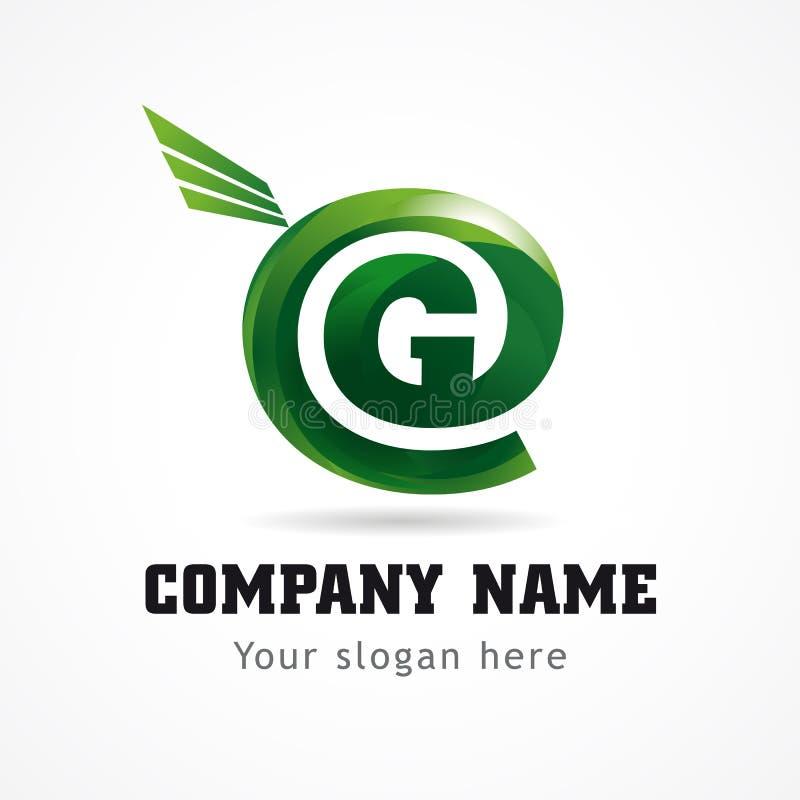 Зеленый цвет g письма летая абстрактный знак торговой марки иллюстрация вектора