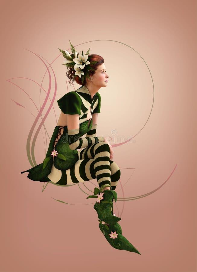 Зеленый цвет striped одетая компьютерная графика девушки 3d иллюстрация штока