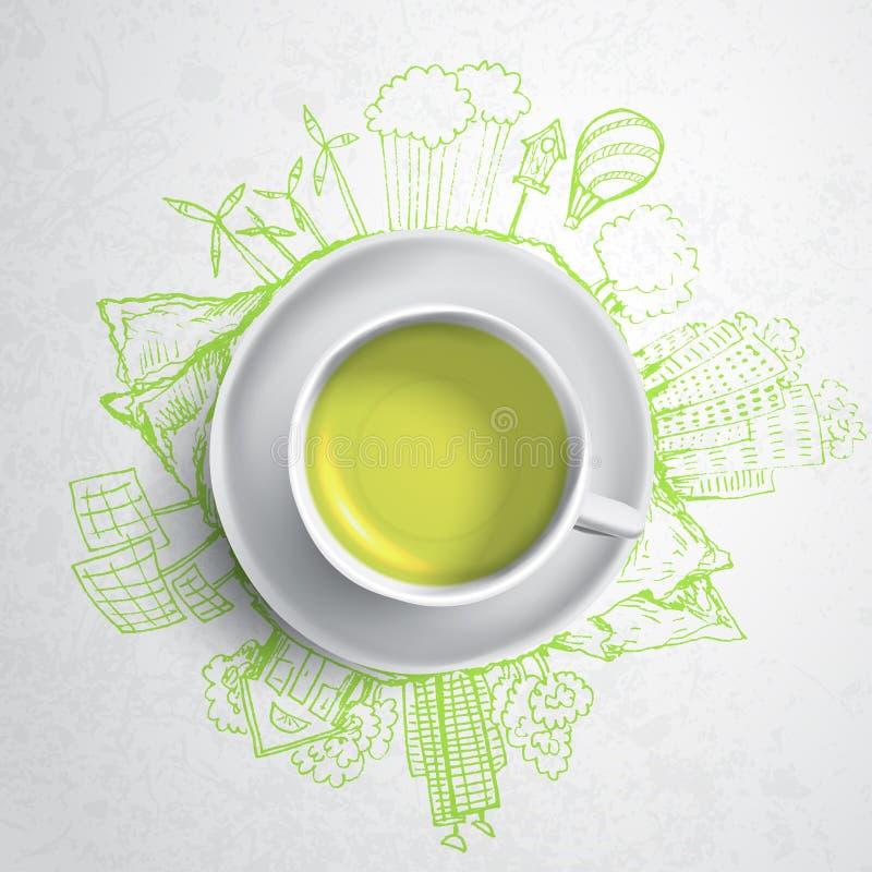 Зеленый чай с doodles экологичности круга Сделанные эскиз к элементы eco с чашкой зеленого чая, иллюстрации вектора иллюстрация штока