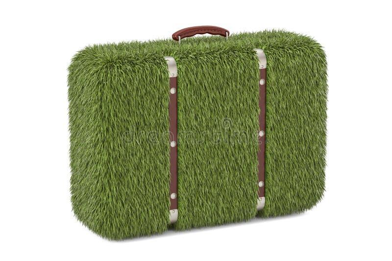 Зеленый чемодан от травы, концепции eco перевод 3d иллюстрация штока