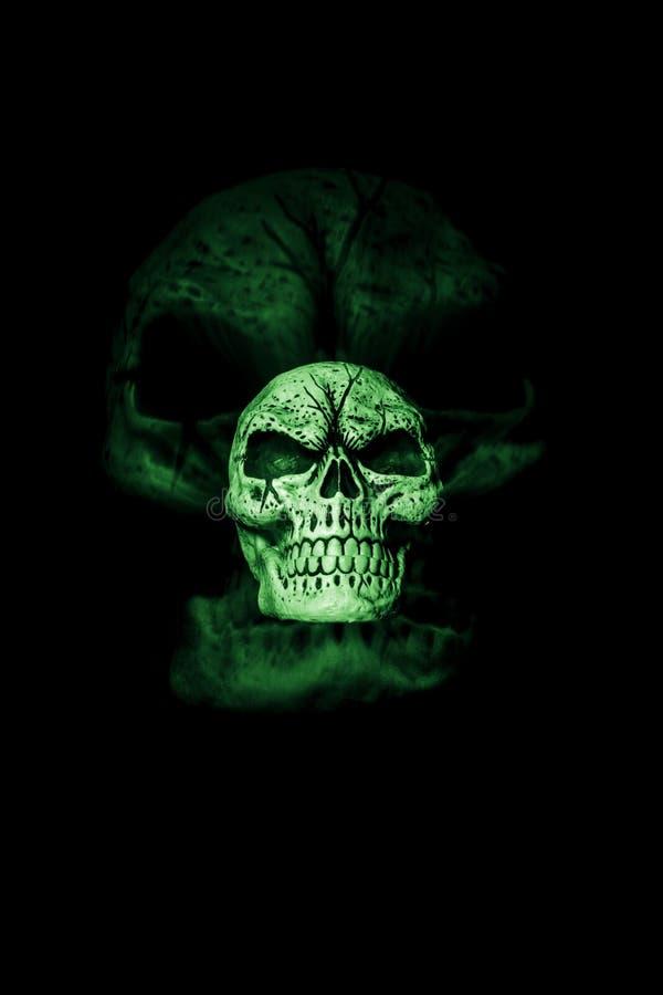 Зеленый череп призрака стоковое фото rf