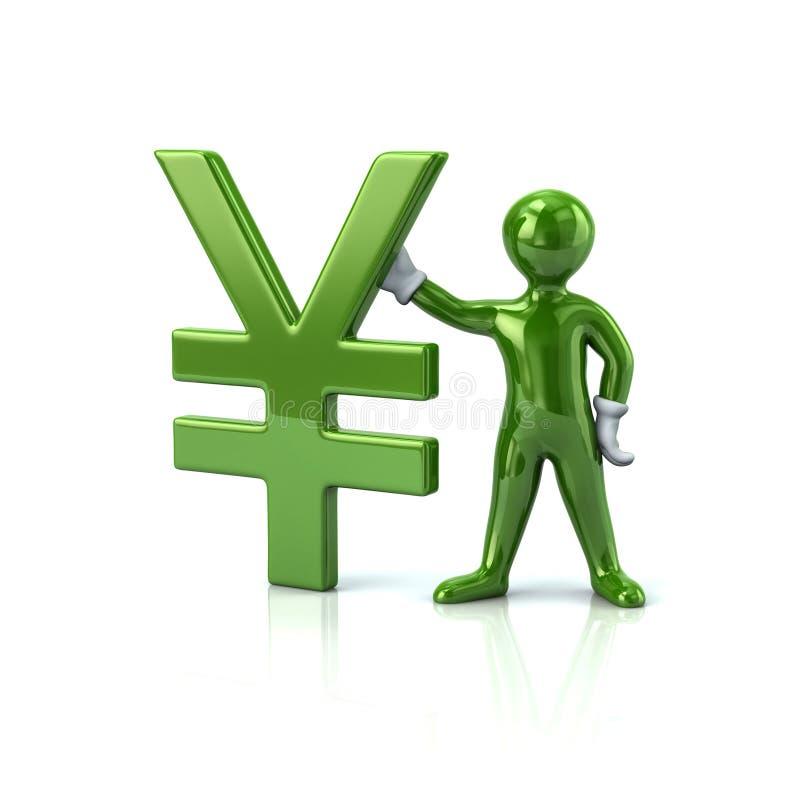 Зеленый человек и валюта иен символ бесплатная иллюстрация