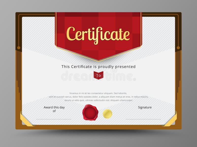 Зеленый шаблон сертификата с лентой золота украшает иллюстрация штока