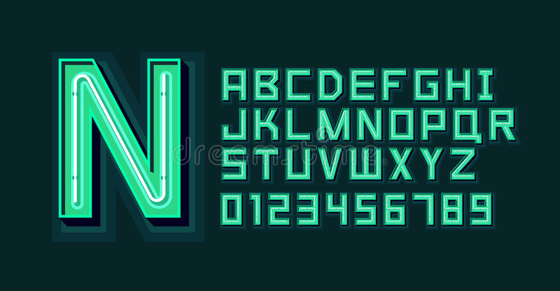 Зеленый шрифт алфавита неонового света иллюстрация штока
