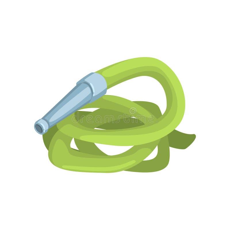 Зеленый шланг сада, иллюстрация вектора шаржа инструмента земледелия иллюстрация вектора