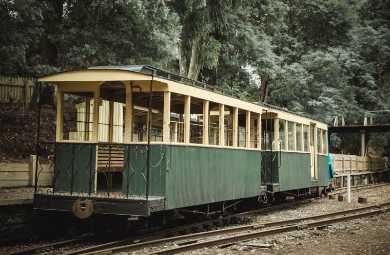 Зеленый экипаж поезда стоковые фотографии rf