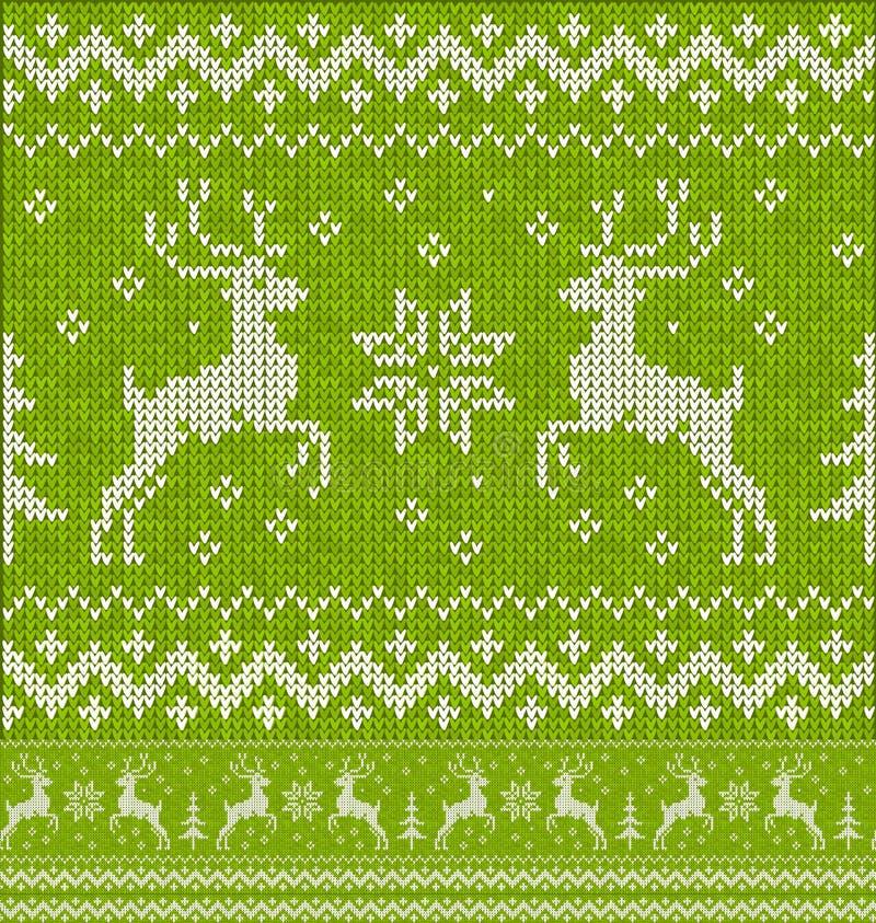Зеленый knit рождества с картиной оленей безшовной иллюстрация вектора