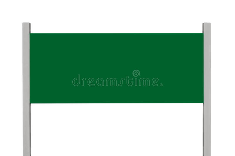 Зеленый signage доски знака металла, изолированный пустой пустой космос экземпляра прямоугольника шильдика обочины, большой прямо стоковое изображение rf