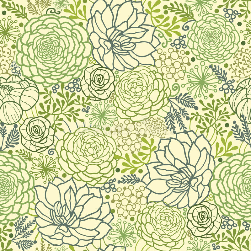 Зеленый succulent засаживает безшовную предпосылку картины стоковая фотография