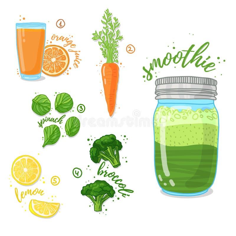 Зеленый vegetable smoothie от шпината, брокколи, морковей для здорового питания Коктеиль в стеклянном опарнике Коктеиль для бесплатная иллюстрация