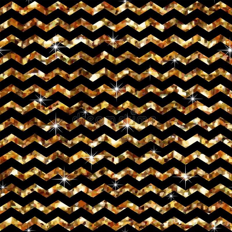 зигзаг картины безшовный Шаблон стиля влияния золота абстрактная геометрическая текстура Ретро винтажное украшение Шаблон дизайна бесплатная иллюстрация