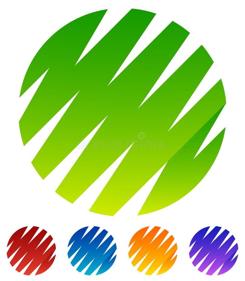 Зигзаг, crisscross линии формируя формы круга Зеленый, красный, голубой иллюстрация штока
