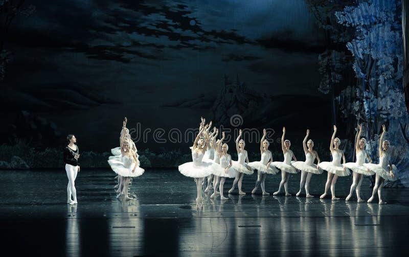 Зигфрид встречал принцессой Ojta заклятья Барта Роберта, она лебедь в дневном времени, но на ноче будет озером лебед девушк-балет стоковые фотографии rf