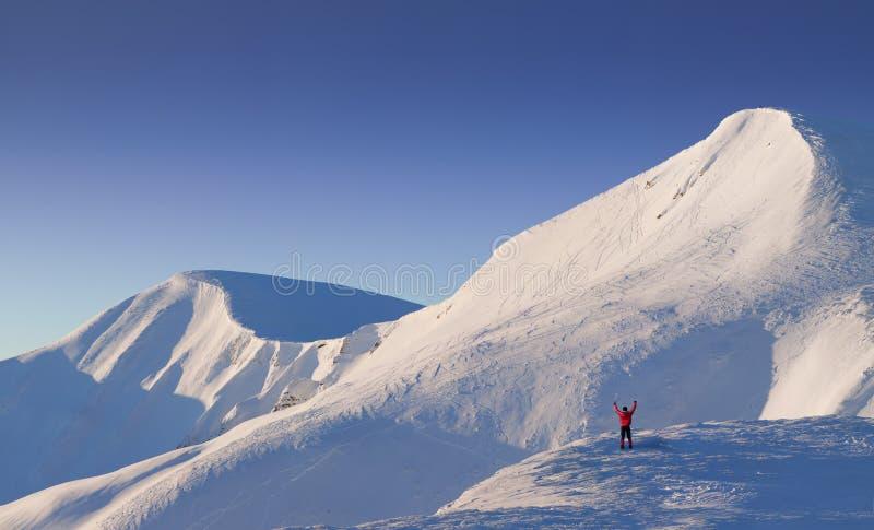 зима альпиниста счастливая стоковые изображения