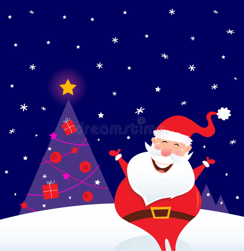 зима вала santa ночи рождества счастливая иллюстрация штока