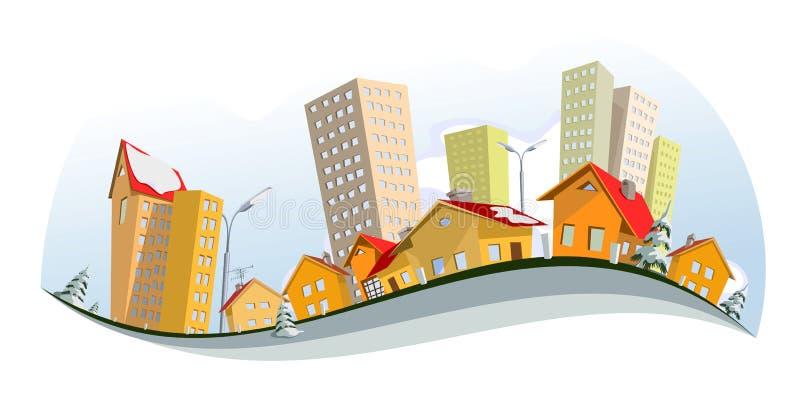 Download зима вектора города иллюстрация вектора. иллюстрации насчитывающей страница - 18376960