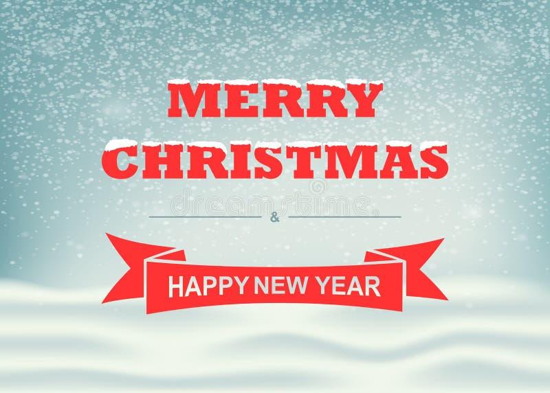 Зима вектора и ландшафт рождества с падая снежинками и помечать буквами Предпосылка для дизайна праздников xmas иллюстрация штока