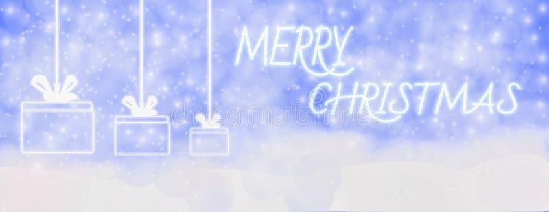 Зима веселого рождества на открытом воздухе с падая снежинками, и вид иллюстрация штока